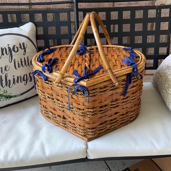 Vintage Wicker Rattan Large Heart Basket